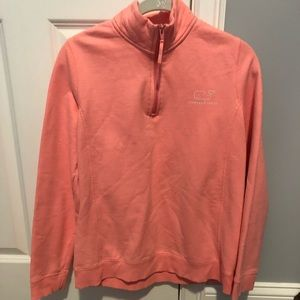 coral/pink vineyard vines quarter zip